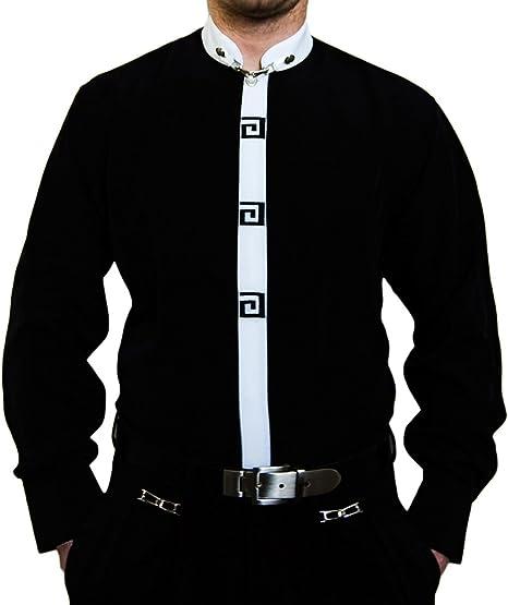 Camisa para Hombre – Cuello Alto Estribo Libre Camisa para Hombre Negro Blanco Cuello Camisas Negro 39: Amazon.es: Ropa y accesorios