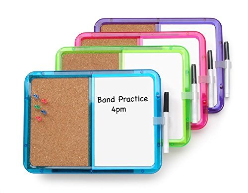 "(2 PACK)TOP QUALITY Loyalty-Memo Board W/Marker, Combo board surface half cork and half dry-erase Push Pins Included 8.25"" X 11.25 Inches (2-Pack)"