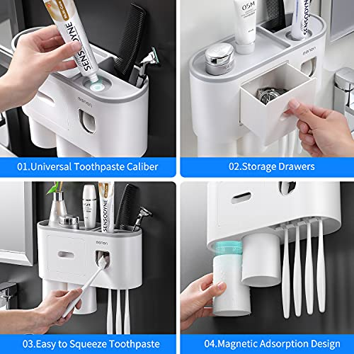 Toothbrush Holders,with Automatic Toothpaste Dispenser,Wall Mounted