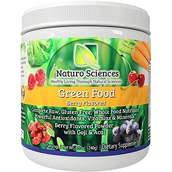 Greens Powder Complete Raw Whole Green Food Nutrition Plus Spirulina, Super Antioxidants, Vitamins, Minerals Amazing Berry Flavor 8.5oz (240g) 30 Servings