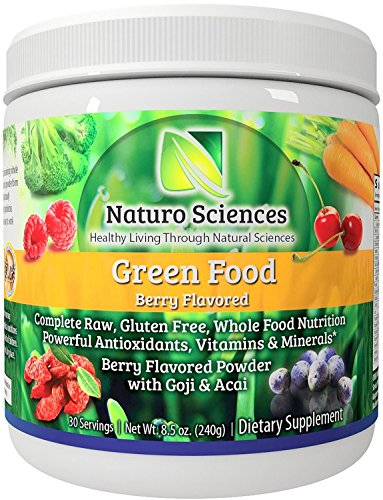 Green Drink Mix (Greens Powder Complete Raw Whole Green Food Nutrition Plus Spirulina, Super Antioxidants, Vitamins, Minerals Amazing Berry Flavor 8.5oz (240g) 30 Servings)
