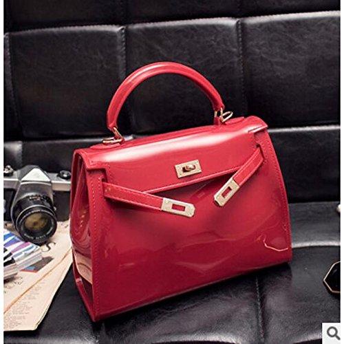 Rojo de Claro Claro Bolso rojo con de Cremallera Morado Mujer Bolsos Gris Hombro de Claro PVC GMYAN Gris 7qn6YvwBtx