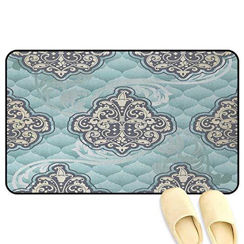 (Victorian Interior Doormat Rococo Style Design Tiles Stylish Romantic Brocade Diamond Arabesque Swirls Light Blue Ivory Decorative Floor Mat W39 x L63 INCH)