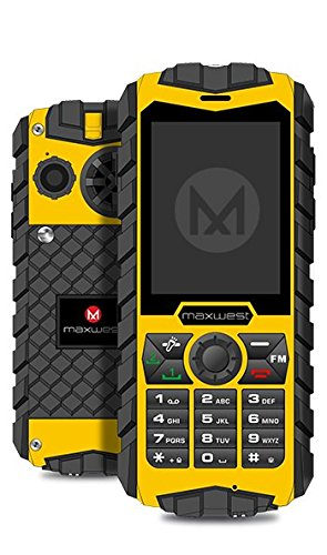 Rugged Cell Phone Unlocked 2G GSM Waterproof Shockproof Maxwest Ranger Flashlight Military Grade IP68 Certified (Yellow) by Maxwest