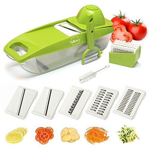 - Deluxe Mandoline Slicer with Peeler-5 Interchangeable Stainless Steel Blades, Cleaning Brush, ABS Premium Plastic! Julienne Slicer, Vegetable Cutter, Safety Hand Guard Included-FREE Ebook-ByTallen's