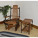 A & L Furniture Co. Amish Bentwood Hickory Glider Rocker with End Table Set