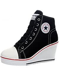 High Heel Sneaker, Canvas Lace up Fashion Shoes High Top...