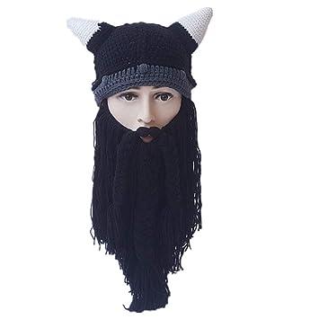 1f307559 Amazon.com : Autumn Winter Vikings Beanies Knitted Long Beard Hats ...