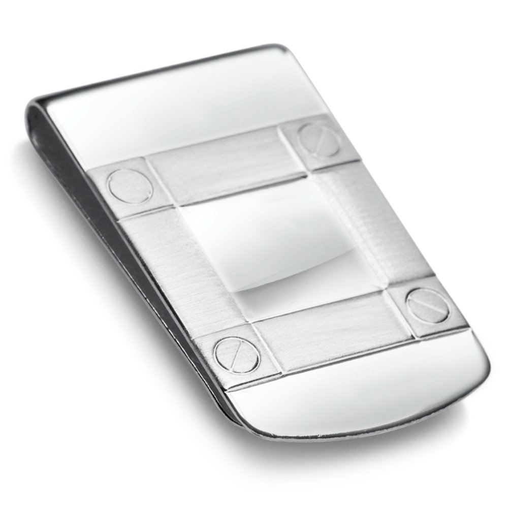Sterling Silver .925 Wide Solid Design Engravable Money Clip, Designed and Made In Italy. By Sterling Manufacturers