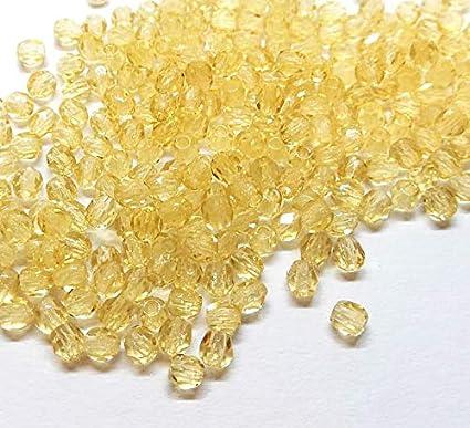 100 perlas de cristal de Bohemia pulidas, de 3 mm, pulidas a fuego, redondas, cuentas redondas checas, perlas de cristal en color a elegir, cristal, Citrine amarillo., 3 mm
