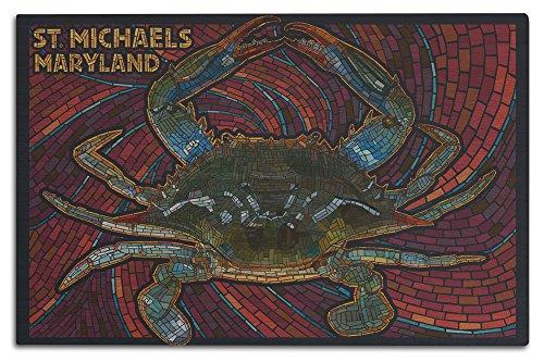 Lantern Press St. Michaels, Maryland - Blue Crab Paper Mosaic (12x18 Wood Wall Sign, Wall Decor Ready to Hang) -