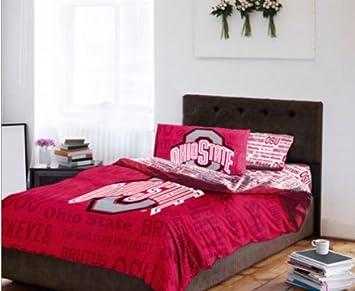 Amazoncom Ohio State Buckeyes Queen Comforter Sheet Set 5