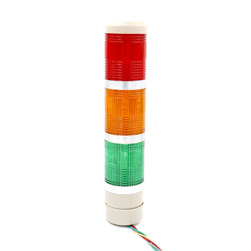 Baomain Industrial Signal Light Column LED Alarm Round Tower Light Indicator Continuous Light Warning light Red Green Yellow AC 110V
