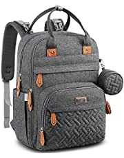 Diaper Bag Backpack, BabbleRoo Baby Nappy Changing Bags with Changing Pad & Pacifier Holder