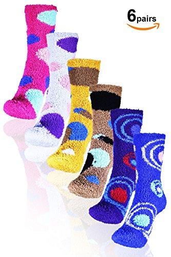 Basico  Valentines Day Gift   Soft Warm Microfiber Fuzzy Winter Socks Crew 6 Pairs  Dots   Swirl C