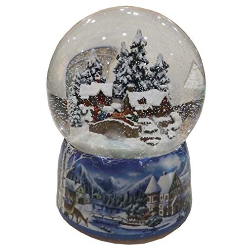 Musicbox Kingdom Porcelain Snow Globe with a Winter Scene Houses The Snow Swirls Automatically Whilst a Christmas Tune is Played Decorative Item