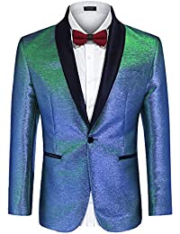 b4212970f9dfde Men's Fashion Suit Jacket Blazer One Button Luxury Weddings Party Dinner  Prom Tuxedo Gold Silver