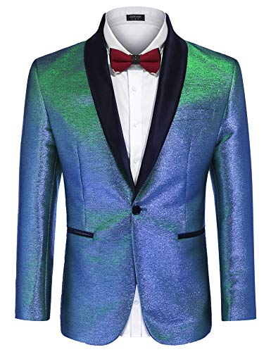 COOFANDY Men's Fashion Suit Jacket Blazer One Button Luxury Weddings Party Dinner Prom Tuxedo Gold Silver (Small, Shiny Blue)
