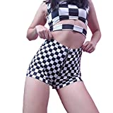 malianna Women White and Black Plaid Skinny Zipper Mid-Waist Streetwear Checkboard Sexy Shorts (S)