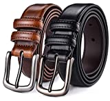 Mens Belt,HW Zone Genuine Leather Dress Belt Classic Casual 1 1/4'' Wide Belt With Single Prong Buckle