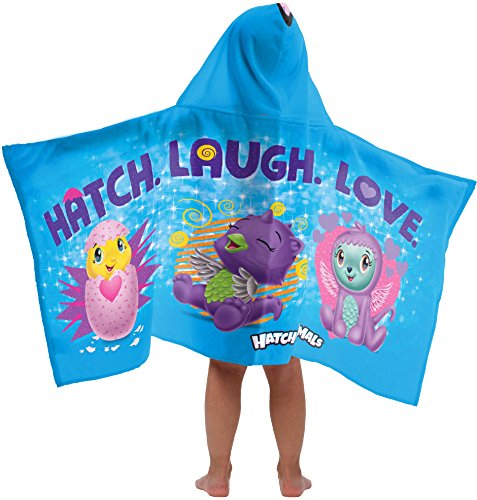 Jay Franco Hatchimals Hatch Laugh Love Super Soft & Absorbent Kids Hooded Bath/Pool/Beach Towel - Fade Resistant Cotton Terry Towel, 22.5