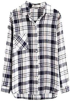 YY Mujer, Diseño de cuadros negro/marrón/gris camisa, camisa cuello manga larga, gray-l: Amazon.es: Deportes y aire libre