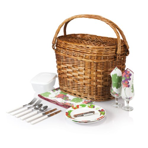 Picnic Time Romance Willow Picnic Basket with Deluxe Service for Two