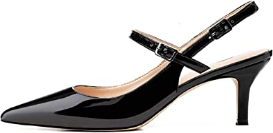 New Womens Block Heels Genuine Leather Shoes Elegant Pointed Slingbacks Sandals@