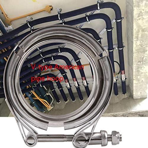 ステンレス鋼ホースクランプ304フランジクランプV型アメリカのパイプフープ車の排気管の車の変更アクセサリー-シルバー