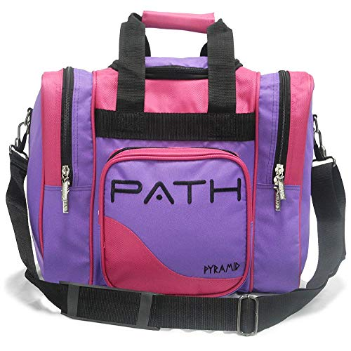 Pyramid Path Pro Deluxe Single Bowling Ball Tote Bowling Bag - Holds One Bowling Ball, One Pair of Bowling Shoes Up to Mens 15 Shoes and Accessories (Purple/Hot Pink)
