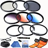K&F Concept 62mm Lens Filter Kit Slim UV Slim CPL Circular Polarizing Macro Close up +4 +10 Slim Graduated Color Orange Blue Grey Point Star 6 Filters For Sigma 18-200mm f/3.5-6.3 II DC 18-250mm 70-300mm 28-300mm 18-125mm Lens + Cleaning Pen + Cleaing Paper + Cleaning Cloth + Lens Cap + Cap Keeper + Filter Bag