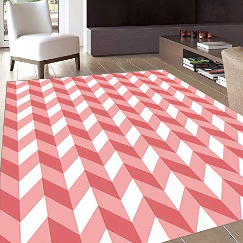 (Rug,FloorMatRug,Coral,AreaRug,Retro Abstract Geometric Striped Pattern with Chevron Zigzags Triangular,Home mat,6'6