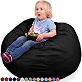 Oversized Bean Bag Chair in Black Onyx - Soft Cover with Memory Foam Fill - ...