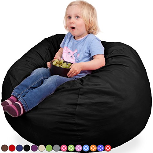 Oversized Bean Bag Chair in Limo Black - Machine Washable Big Soft Comfort Cover & Memory Foam Filler - Cozy Lounger & Bed - Kids & Teens Love This Huge Sack - Indoor Furniture By Panda Sleep