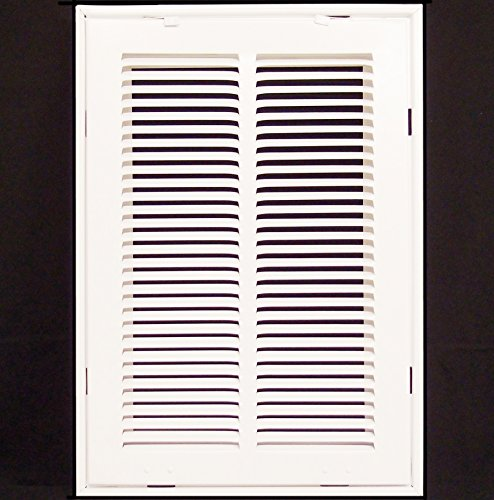 12'' X 18 Steel Return Air Filter Grille for 1'' Filter - Removable Face/Door - HVAC DUCT COVER - Flat Stamped Face - White [Outer Dimensions: 14.5''w X 20.5''h] by HVAC Premium