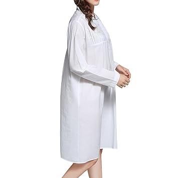 dorekim Womens Sweet pijamas de color blanco Vintage vestido camisón algodón pijama vestidos de novia dk3699