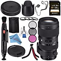 Sigma 50-100mm f/1.8 DC HSM Art Lens for Canon EF #693954 + Sony 128GB SDXC Card + Lens Pen Cleaner + Fibercloth + Lens Capkeeper + Deluxe Cleaning Kit + Flexible Tripod Bundle