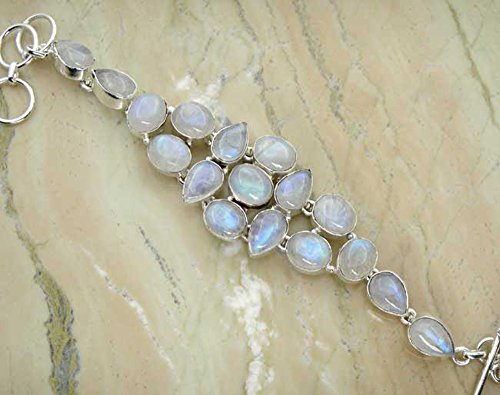 Genuine Moonstone 925 Sterling Silver Overlay Handmade Fashion Bracelet Jewelry by Sterling Silver Jewelry