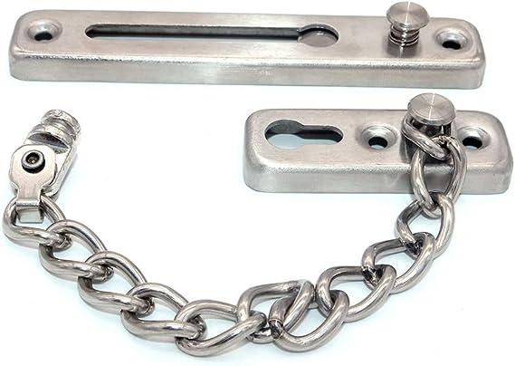 NUZAMAS 2 de serrure de cha/îne en acier inoxydable limiteur de porte ext/érieure s/écurit/é de serrure de porte secondaire avec bloqueur de s/écurit/é limiteur de porte avant