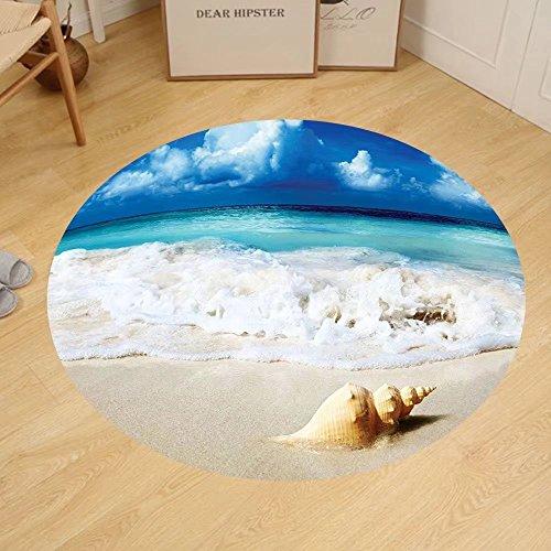 Gzhihine Custom round floor mat Nautical Blue Seashells Ocean Decor Bright Sunny Sand Waves Picture Print Bedroom Living Kids Girls Boys Room Dorm Blue Ivory Green
