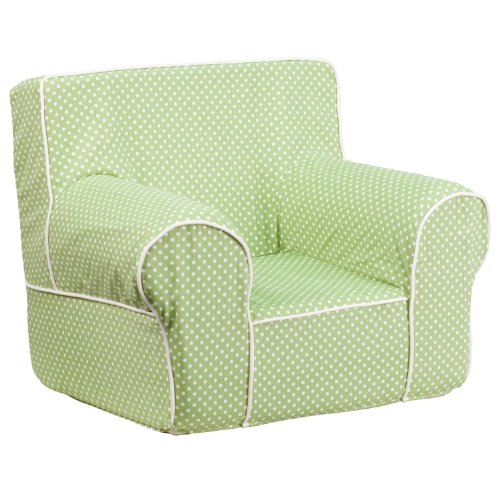Flash Furniture Small Green Dot Kids Chair with White Piping