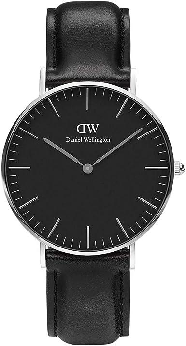 Daniel Wellington Classic Sheffield Reloj Negro/Plata 36mm Cuero para Hombre y Mujer