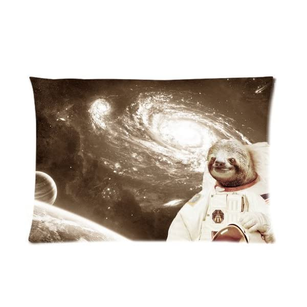 Sloth Astronaut Rectangle Pillowcase Pillow Case Covers 16X24 (One Side) -