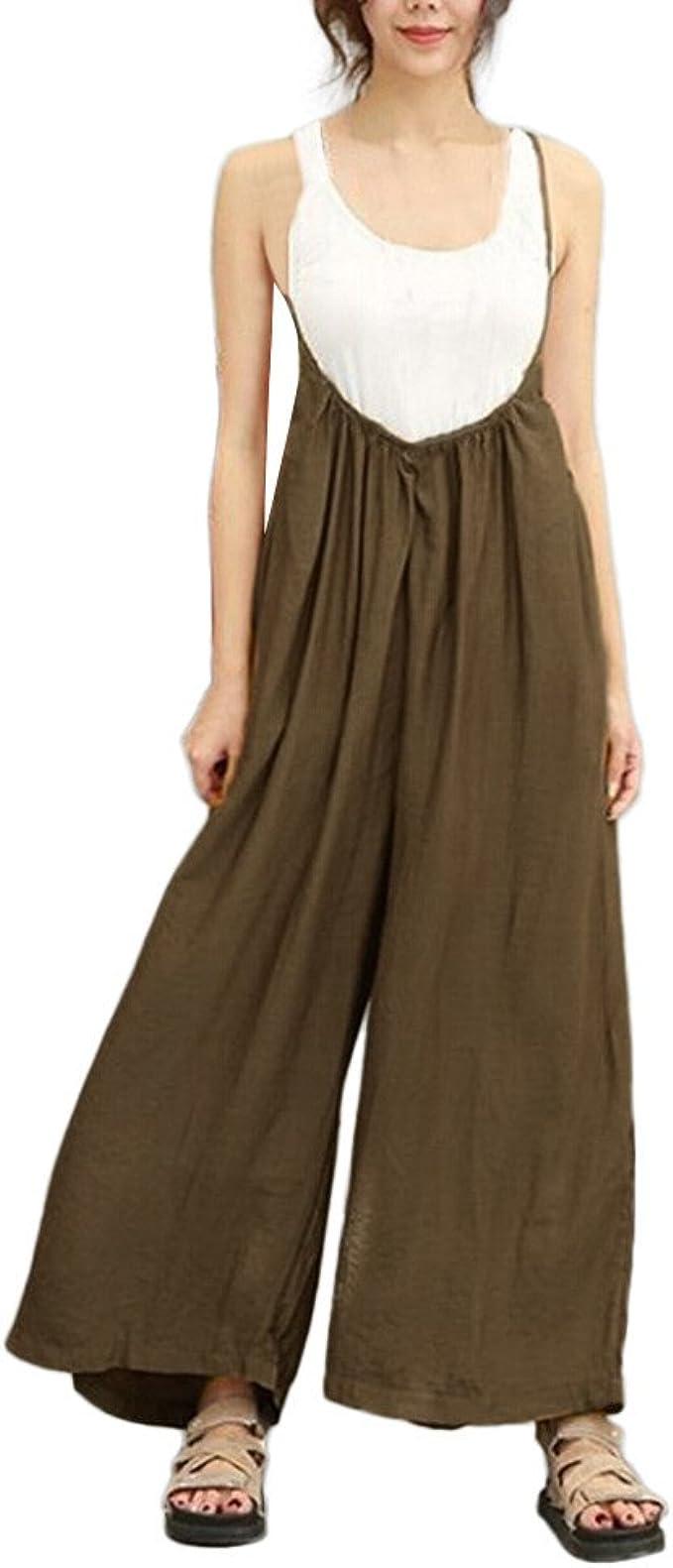 Tuta lunga donna Tuta Salopette Pantaloni senza maniche larghe Jumpsuit Playsuit