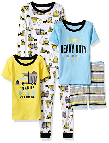 Carter's Boys' Little 5-Piece Cotton Snug-Fit Pajamas, Construction - Set Size 4 Boys Pajamas