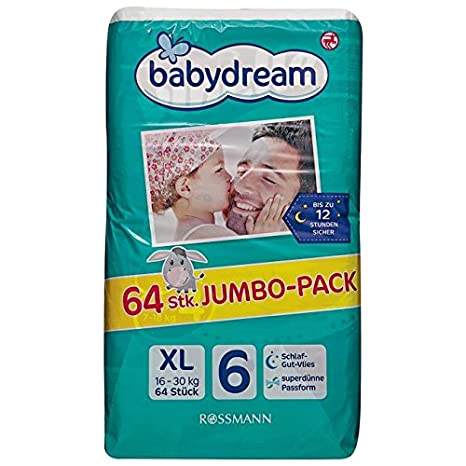 babydream XL pañales Jumbo Pack, 64 unidades)