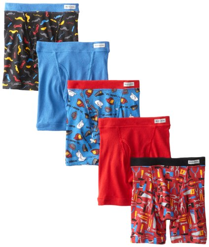 Fruit of the Loom Little Boys' Covered Waistband Boxer Brief, Prints And Solids, 4T,