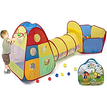 This item Utex Pop up Kids Play Tent with Tunnel and Ball Pit Indoor and Outdoor Easy Folding 3 in 1 Play House Childrenu0027s Playground with Zippered Storage ...  sc 1 st  Amazon.com & Amazon.com: Utex Pop up Kids Play Tent with Tunnel and Ball Pit ...