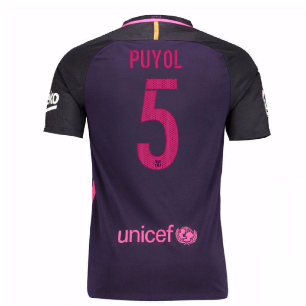 2016-17 Barcelona With Sponsor Away Shirt (Kids) (Puyol 5) B01M7UASIR