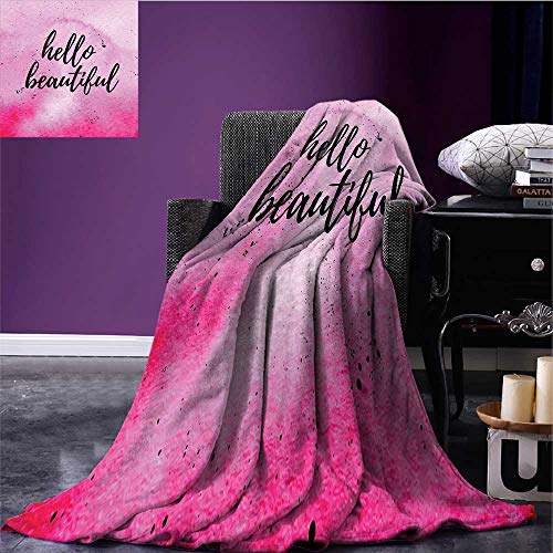 Hello Throw Blanket Romantic Phrase with Hand Lettering and Color Splashes on Artistic Backdrop Queen Size Blanket Lilac Magenta Black Bed or Couch 62